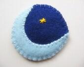 Blue Moon Felt Hair Clip