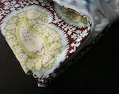 Baby Stroller Blanket-Modern Henna Paisley - Blue Minky Blanket -Baby Blanket-Baby Gift-SALE-FREE SHIPPING