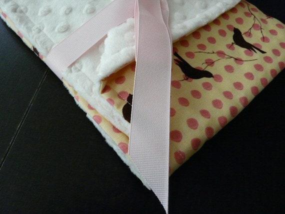 Baby Stroller Blanket-Pink Polka Dot Shilhouette-Cream Minky Blanket -Baby Blanket-Baby Shower Gift-SALE-FREE SHIPPING
