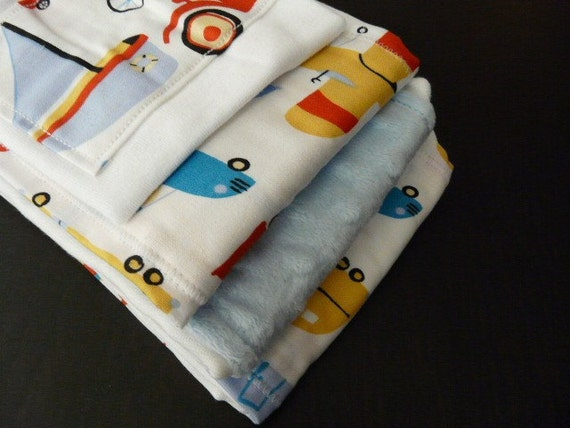 Baby Burp Cloths and Onezeee Gift Pack-Oh Boy: WhiteTransportation w/Blue Minky Gift-3 Burp Cloths and A Onesie-Baby Gift-SALE-FREE SHIPPING