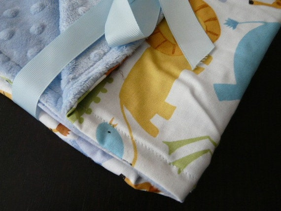 Baby Stroller Blanket-Oh Boy: Animals White w/Blue Minky-Baby Blanket-Baby Shower Gift-SALE