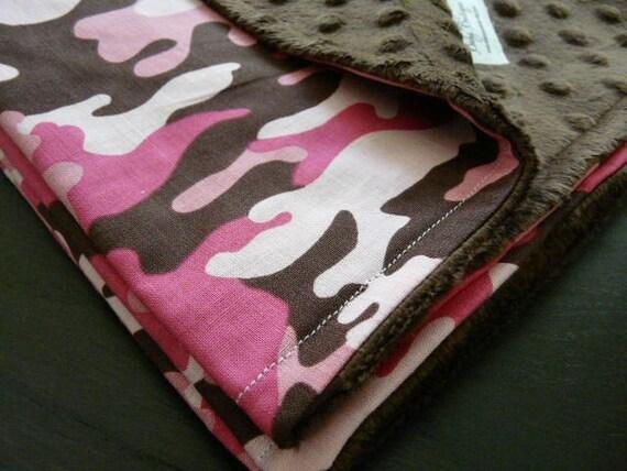 Modern Pink Camo Brown Minky Stroller Blanket Free