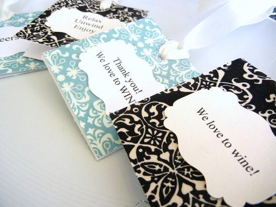 Personalized Gift Tags Wine Bottles Fabric  Damask Fabric set of 4
