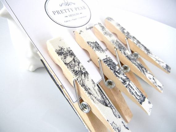 Black Toile Fabric Magnet Clothespins Set of 4