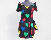 Amazing 80's Asymmetrical Rainbow Hearts Mini Party Dress M
