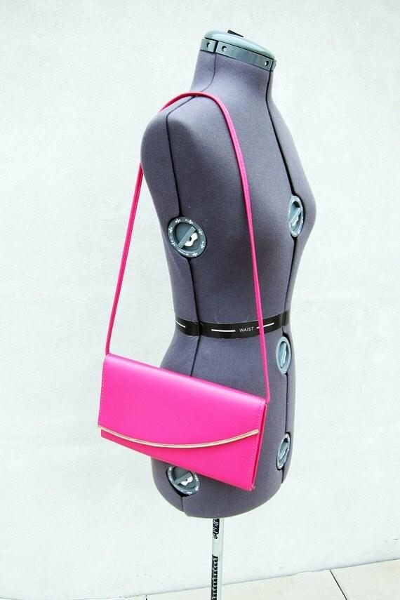 Hot Pink 80's Asymmetric Shoulder Bag/Purse