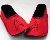 Star Trek Slippers, Red Embroidered Slippers, Wool Felt Slippers, Star Trek TOS Slippers, Womens size Medium
