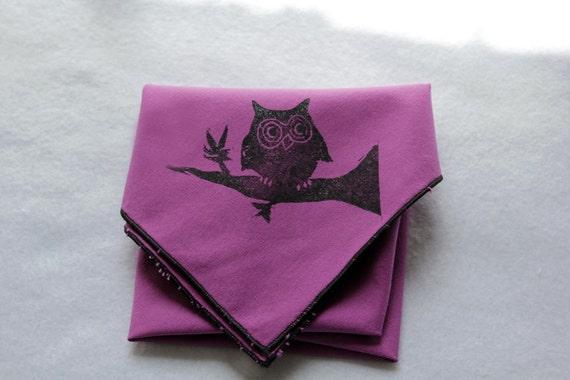 Purple Owl Napkins, Owl Print Napkins, Printed Napkins, Purple Black Napkins