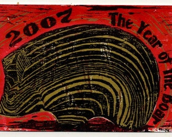 Year of the Boar 2006 - Original Block Print