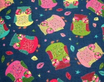 "SALE/ Kawaii Owls Flannel Cotton Fabric (56""/142cm)"