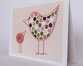 Last one: Mother bird card in earthy pink and green