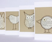 Set of four critter cards made from pages of an old dictionary