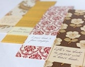 SALE Gift set - four bookmarks made from vintage wallpaper and cute book quotes