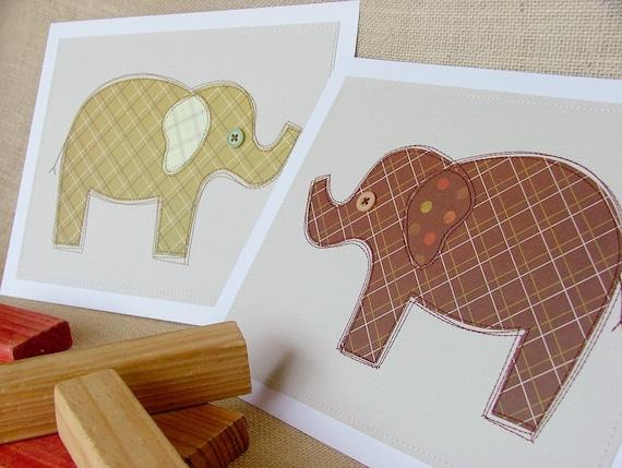 SALE Plaid pair of elephants, ready to frame