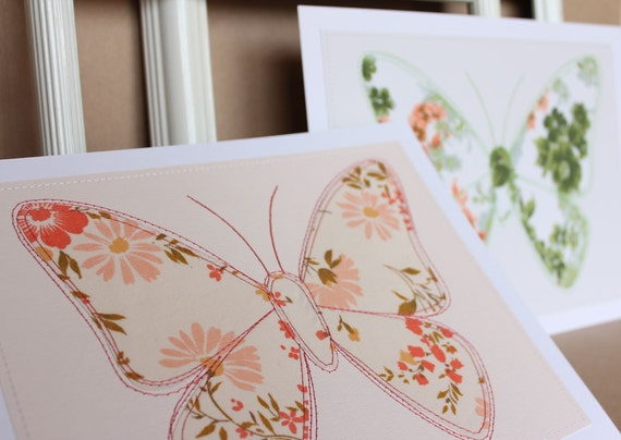 SALE Last pair: Wall art butterflies ready to frame, 8 x 10 original sewn pictures