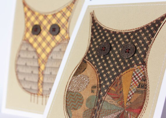 SALE Last one: Pair of owls, sewn paper original pictures 5 x 7, ready to frame