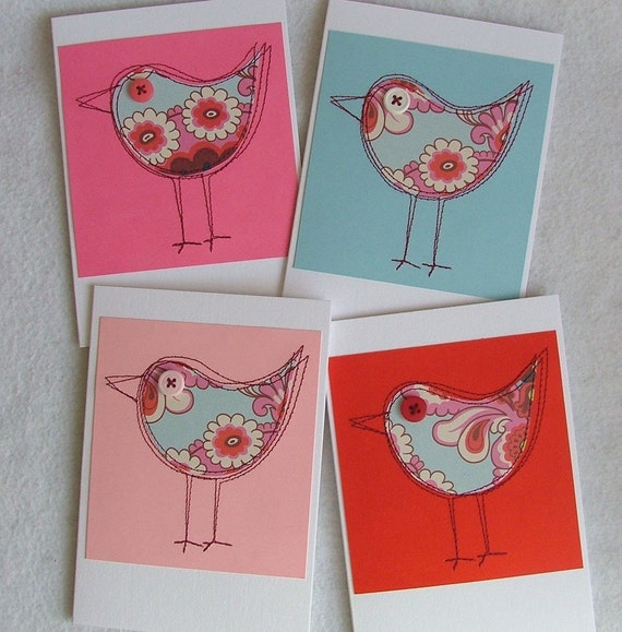 Four gorgeous cards featuring Amy Butler paper