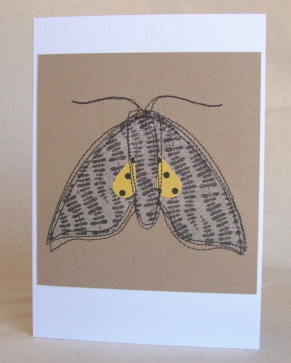 Last one: Moth greeting card, sewn paper design