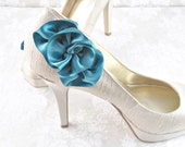 Wedding Shoe Clips- Blue Shoe Clips - Something Blue Shoes - Wedding Blue Shoes - Flip Flop Shoe Clips - Vintage Style -  Satin Shoe Clips