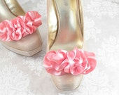 Bridal Shoe Clips - Pink Satin Clips -  Marie Antoinette Costume - Wedding Shoe Clips - Ruffle Shoe Clips - Wedding Shoe Accessories