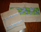 Set of Organic cotton FROG  Burp Cloths for boy or girl