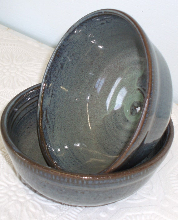 Set of two blue bowls