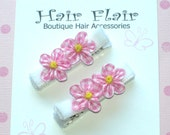 Pink and White Gingham Flowers - Velvet Lined Alligator Clips (Set of two)- No Slip Guarantee - DBCB