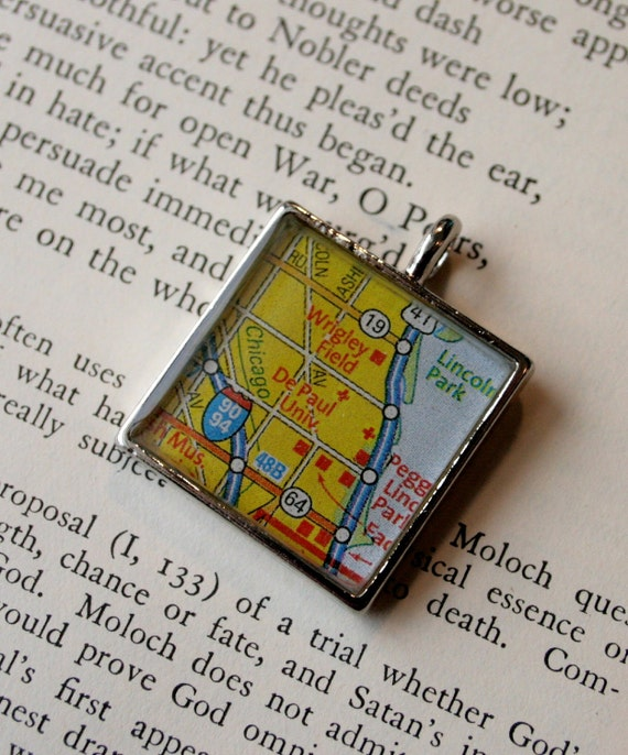 DePaul University and Wrigley Field Map Pendant, in Chicago, Illinois