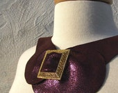 Leather Bib Necklace with Vintage Gold Pilgrim Style Buckle and Oversized Bow Ready to Ship ON SALE