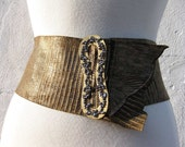 Victorian Marcasite Buckle on Brown with Gold Highlights Sheepskin Lizard Belt Size 30 By Stacy Leigh Ready to Ship