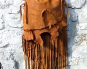 Elk Leather Fringe Bag in Saddle Brown Made to Order