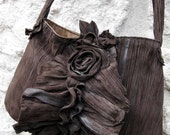 Dark Chocolate Brown Cedar Rose Ruffle Bag in Sheepskin Leather Made to Order by Stacy Leigh