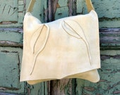 Leather Shoulder Bag in Buttermilk Nubuck Cowhide Made to Order by Stacy Leigh