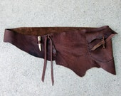 Dark Chocolate Buffalo Belt with Natural Edge Leather and Deer Antler Buckle Size 36