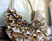 Natural Edge Ruffle Bag in Beige Leather by Stacy Leigh Ready to Ship SALE