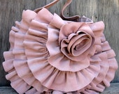 RESERVED for Ivy Soft Dusky Pink Italian Calf Suede Leather Ruffle Purse by Stacy Leigh Ready to Ship