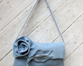 Baby Blue Cowhide Purse with Rose and Leaves by Stacy Leigh RESERVED for Karen