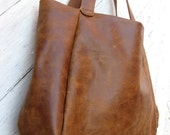 Distressed Brown Leather Slouchy Tote Bag by Stacy Leigh Ready to Ship