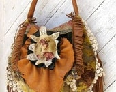 French Tapestry Bag with Leather Fringe and Antique Lace and Deerskin Ruffle by Stacy Leigh Ready to Ship