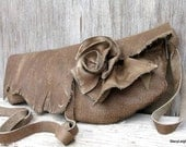 RESERVED for Sweetupgirl Distressed Olive Brown Leather Wrap Clutch with Natural Edge Rose by Stacy Leigh SALE