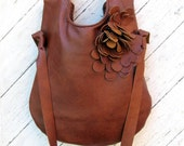 Tobacco Brown Rustic Leather Shoulder Tote Bag by Stacy Leigh Ready to Ship