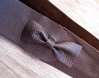 Wide Leather Bow Tie Belt in Dark Brown Torino  Size 42 (or I can make it smaller) by Stacy Leigh SALE