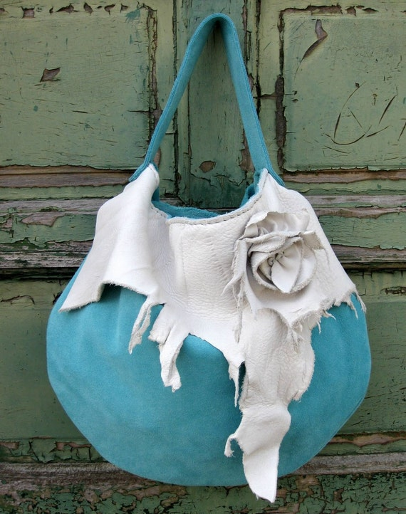 Turquoise Suede Hobo with Pearl White Elk Leather Trim and Natural Edge Rose by Stacy Leigh Ready to Ship SALE