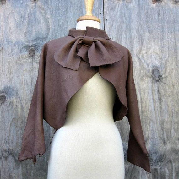 Leather Jacket Coatee Made in Taupe Elkskin By Stacy Leigh Size Small to Medium Ready to Ship OOAK
