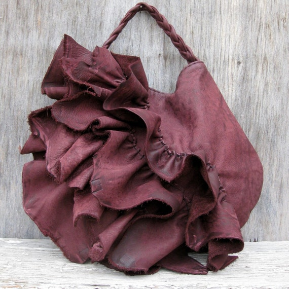 Leather Ruffle Bag  with Natural Edges in Blackberry Plum by Stacy Leigh RESERVED for Ivy