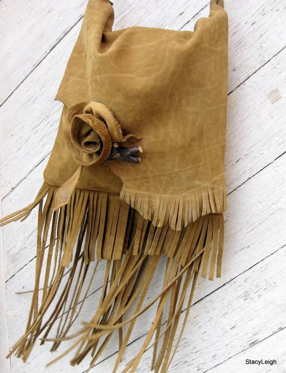 Rustic Leather Long Fringe Bag with Rose and Hickory Twig in Mustard Brown by Stacy Leigh