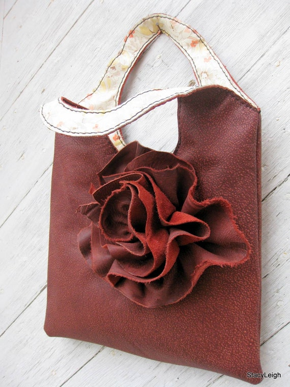 Leather Tote Bag in Cinnamon Distressed Leather with Natural Edge TerraRose by Stacy Leigh SALE