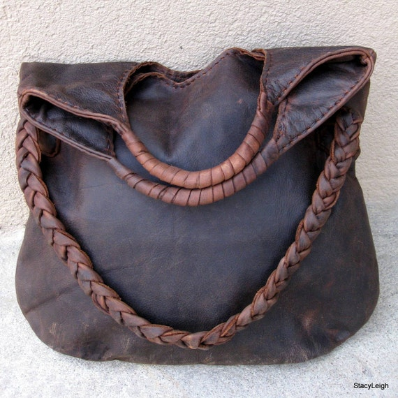 Distressed Brown Leather Tote with Wrapped Handles and Braided Shoulder Strap by Stacy Leigh Ready to Ship