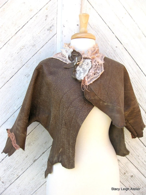 Olive Brown Leather Jacket with Victorian Wedding Dress Lace Size Small to Medium by Stacy Leigh