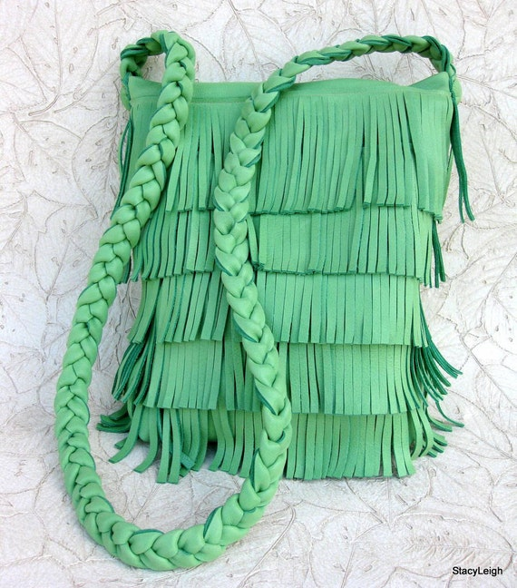 Grass Green Leather Fringe Bag with Long Cross Body Braided Strap by Stacy Leigh Ready to Ship